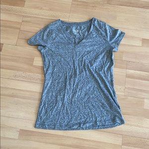 Grey short sleeve v neck in M